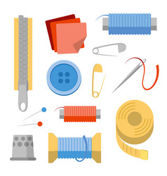 sewing stuff set needles pins thread buttons vector image