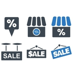 Shop Sale Flat Icons vector image
