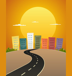 sunset avenue vector image