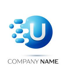 u letter splash logo blue dots and circle bubble vector image vector image