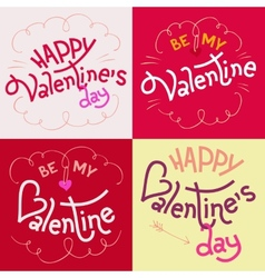 Valentines day hand-lettering cards vector image vector image