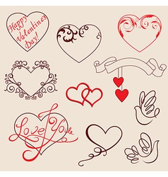 Valentines design elements vector image vector image