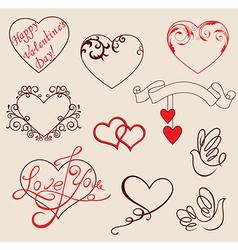 Valentines design elements vector image