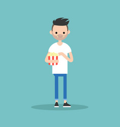 young bearded man chewing popcorn full length vector image vector image