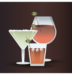Cocktail olive glass summer alcohol icon vector