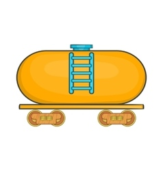 Tanker trailer on train icon cartoon style vector