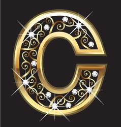 C gold letter with swirly ornaments vector