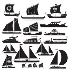 Icons motor and sailing yachts vector