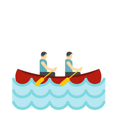 canoe with two athletes icon flat style vector image