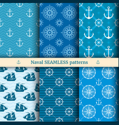 Marine nautical sea seamless patterns set vector