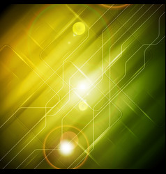 Tech glossy abstract yellow green background vector