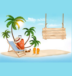 Beach with palm trees and wooden sign summer vector
