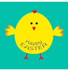 Cute easter chicken card vector