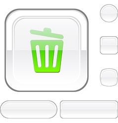 Recycle bin white button vector