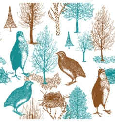 birds in the forest background vector image