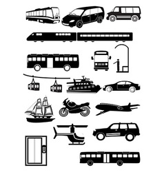 Transport vehicles icons set vector