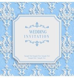 Blue vintage invitation card with 3d floral vector