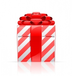 Gift box with red bow vector