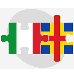 Italy and aaland islands flags in puzzle vector