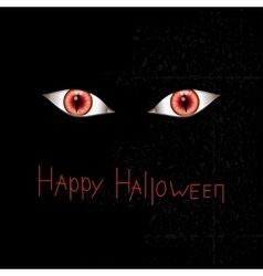 Happy halloween card with red eyes vector