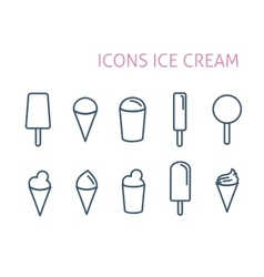 Set line icons ice cream white background vector