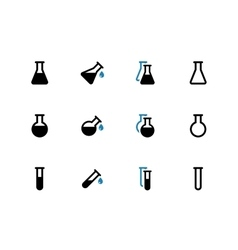Laboratory glass duotone icons on white background vector