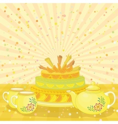 Cake with teapot and cups vector