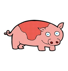 Comic cartoon pig vector