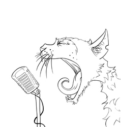 Cats yelling microphone vector