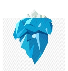 Isolated full big iceberg with line waves flat vector image