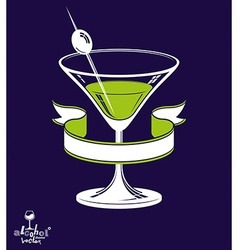 Realistic 3d martini glass with olive berry and vector