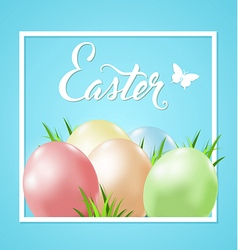 Easter card with eggs and green grass vector