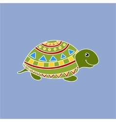 Turtle wearing tribal clothing vector