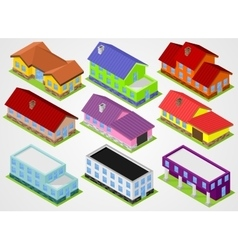 Nine isometric houses vector