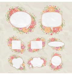 Drawn floral bubbles vector