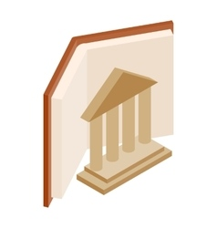 Ancient columns and book icon vector