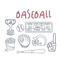 Baseball related object and equipment set vector