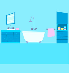 Blue bathroom with furniture vector