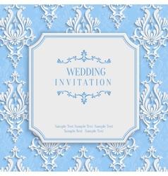 Blue vintage invitation card with 3d floral vector