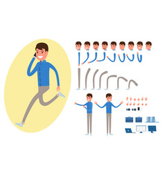 businessman character creation set for animation vector image