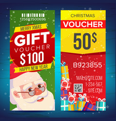 christmas voucher template vertical card vector image vector image