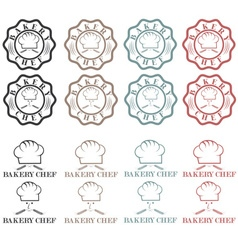 Collection of vintage retro bakery chef labels vector image vector image