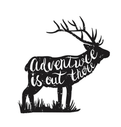 Deer silhouette and hand-drawn lettering vector image