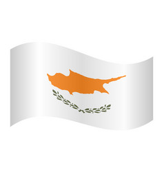 flag of cyprus waving on white background vector image