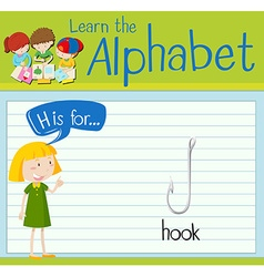 Flashcard alphabet h is for hook vector