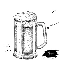 Glass mug of beer sketch style vector image