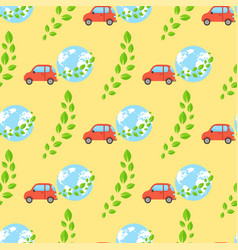 globe earth geography cars seamless pattern planet vector image vector image