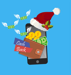 Holidays cashback in mobile app concept vector