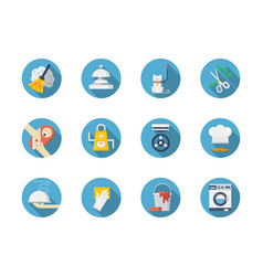 Housework blue round icons set vector
