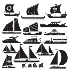 Icons motor and sailing yachts vector